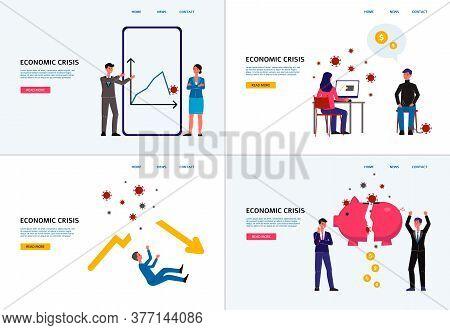 Economic Crisis Banner Set, Coronavirus Impact On Business And Finance