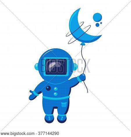 Cute Astronaut Keeps Abstract Balloon Like A Moon. Funny Cosmonaut.