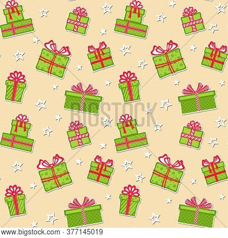 Stickers Of Green Gift Boxes With Different Patterns, Red Ribbons And Bows On A Beige Background Wit