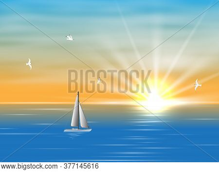Sailing Ship Floating In The Ocean In The Morning. A Silhouette Of A Boat With Sails Floating On The