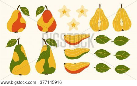 Set Of Juicy Fruits. Isolated Elements For Design. Red, Green, Yellow Pears. Wholes And Pieces Of Fr