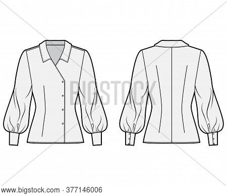 Blouse Technical Fashion Illustration With Regular Collar, Long Bishop Sleeves, Fitted Body, Double