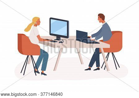 People, Colleagues Or Partners At Computer And Laptop In Modern Coworking Office. Woman And Man Shar