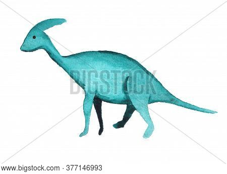 Watercolor Dinosaur Isolated On White Background. Prehistoric Monster. Cartoon Illustration For Chil