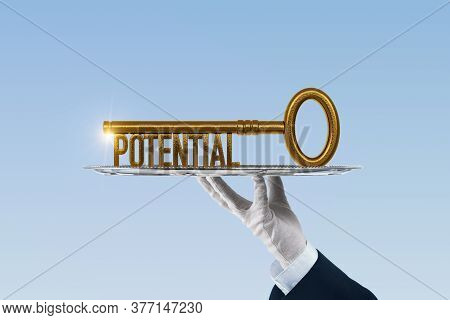 Coach Has A Key To Unlock Potential - Motivation Concept. Coach (manager, Mentor, Hr Specialist) Hol