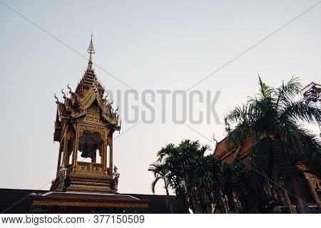Beautiful Details Of Thai Fine Arts At Buddhist Temple