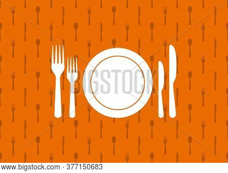 Cutlery Background. Seamless Kitchen Pattern With Fork, Knife, Plate. Silverware Utensil For Lunch,