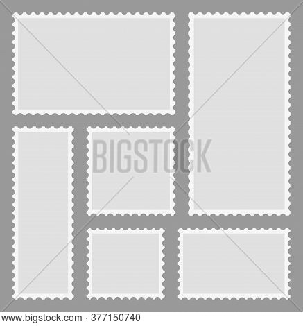 Stamp And Postage. Frame Of Envelope With Perforated Edge. Post Label. Paper Postcard With Border. B