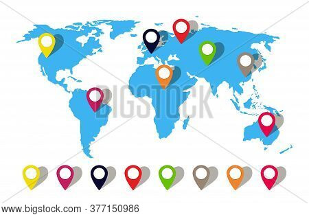 Map World With Pin Location. Globe Icon With Pointer. Perspective Travel In Asia, Australia, Africa,