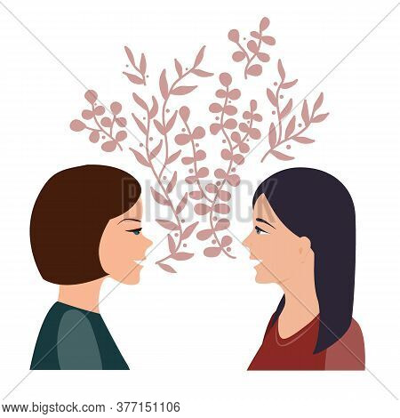 Girls Talk And Communication Concept. Happy Women Talking And Smiling To Each Other. Two Girl Friend