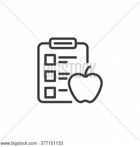 Diet Plan Schedule Line Icon. Planning Dieting Linear Style Sign For Mobile Concept And Web Design.