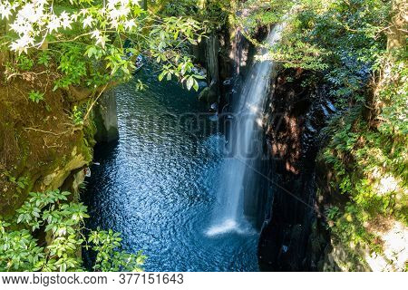 View From Above At Takachiho Gorge Cliffs And Waterfall By The Gokase River, Tourist Attraction On K