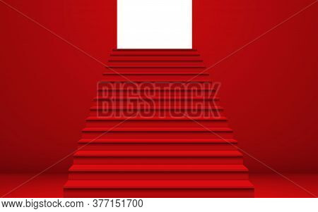 Red Staircase And Light In The Red Room