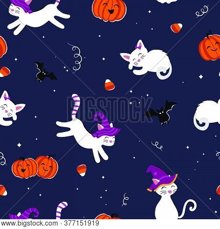 Cute Hand Drawn Halloween Seamless Pattern With Cats And Candy, Fun Background, Great For Textiles,