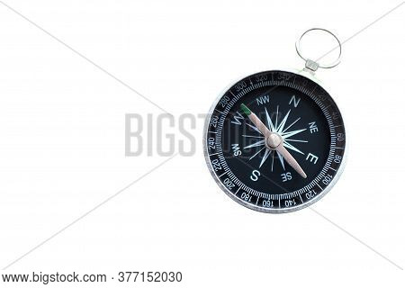 Round Compass Isolated On White Background For Abstract Image With Place For Text As Symbol Of Touri