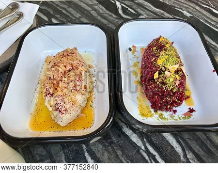 Turkish Greek Appetizer Meze Platter Nuraniye With Yogurt And Kisir With Beet And Made With Beetroot