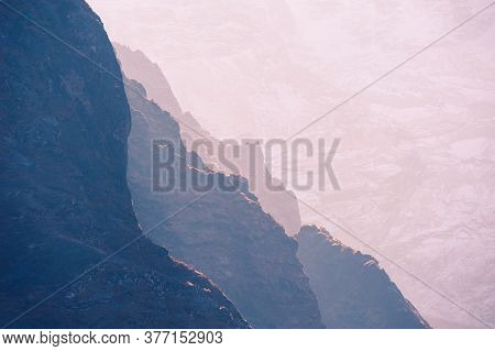 Himalaya Mountains At Sunrise. Himalayas, Khumbu Valley, Everest Region, Nepal. Mountain Background