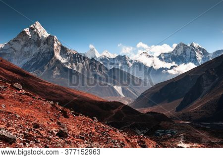 View Of Ama Dablam Peak In Himalaya Mountains At Sunset. Thokla Pass, Khumbu Valley, Everest Region,