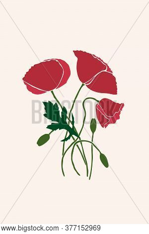 Abstract Poppy Flower With Leaves, Stem And Bud Drawn In A Minimalist Style. Flat Geometric Shapes I