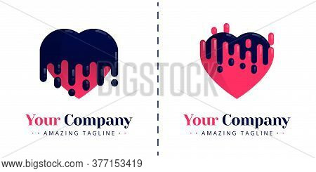 Love Logo With The Theme Of Melting And Bleeding, Melt Falling Down And Up. Templates Can Be Used Fo