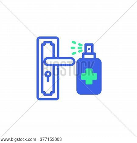 Disinfect Door Handle Icon Vector, Filled Flat Sign, Bicolor Pictogram, Door Handle And Sanitizer Bo