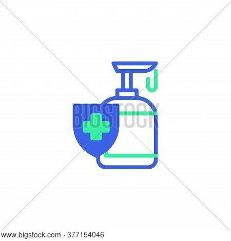 Liquid Soap Sanitizer Icon Vector, Filled Flat Sign, Hand Disinfection, Alcohol Gel Bicolor Pictogra