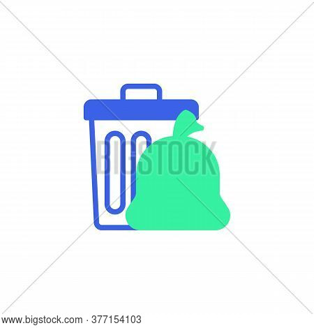 Recycle Bin And Plastic Bag Icon Vector, Filled Flat Sign, Trash Bag And Garbage Bin Bicolor Pictogr
