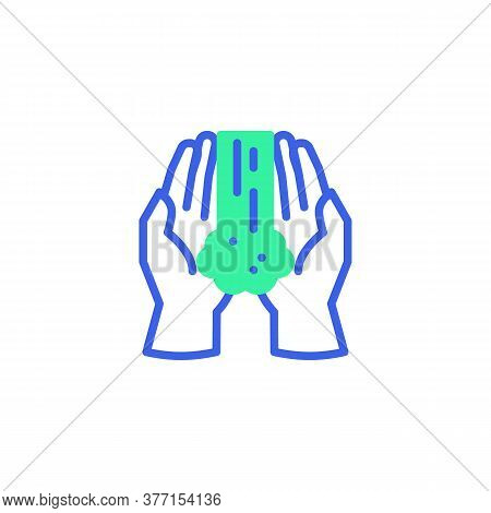 Hands Washing Icon Vector, Filled Flat Sign, Hands And Water Bicolor Pictogram, Green And Blue Color