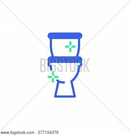 Clean Toilet Icon Vector, Filled Flat Sign, Toilet Bowl Bicolor Pictogram, Green And Blue Colors. Sy