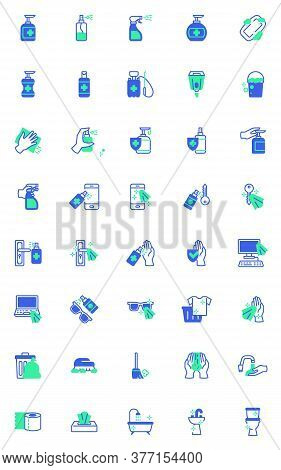Disinfection And Cleaning Vector Icons Set, Modern Solid Bicolor Symbol Collection, Filled Style Pic