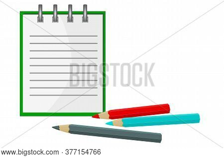 Notebook With Pencil Isolated On White Background. Notepad With Metal Spiral And Colorful Pencils. E
