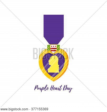 Purple Heart Day. Isolated Vector Badge And Purple Ribbon In Flat Style. Celebrate Honor, Courage, M