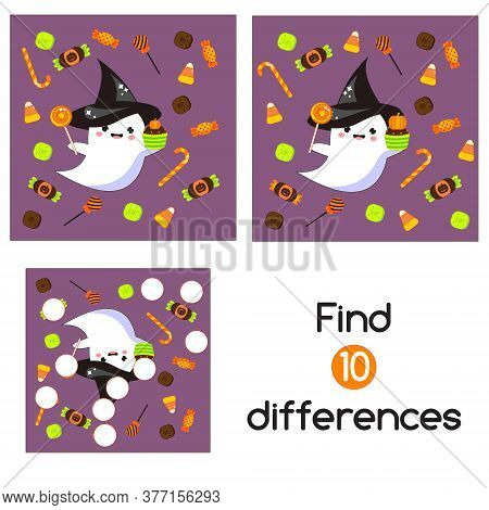 Halloween Ghosts With Candy And Sweets. Find The Differences Educational Children Game. Kids Activit