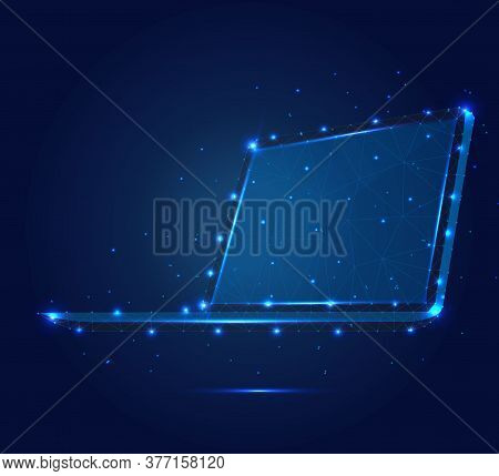 Polygonal Illustration Of Laptop, 3d, Isometric, Consisting Of Polygons, Dots And Lines. Low Poly Po