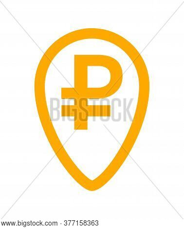 Ruble Currency Symbol In Pin Point For Icon, Russia Ruble Money Yellow Orange, Ruble Money Symbol In