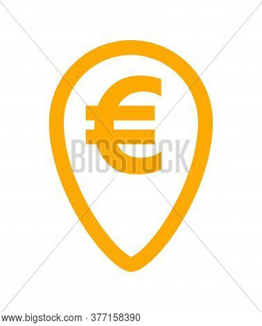 Euro Currency Symbol In Orange Pin Point For Icon, Euro Money For App Icon, Simple Flat Euro Money,