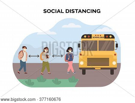 Concept Of Social Distancing At School. Multiethnic, Mix Race Kids Maintaining A Safe Distance When