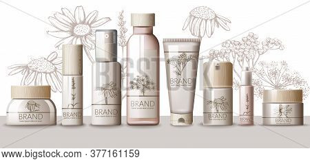 Herbal Set Of Cosmetic With Wooden Cap. Thermal Water, Serum, Cream, Lotion, Body Mask, Spray, Milk,