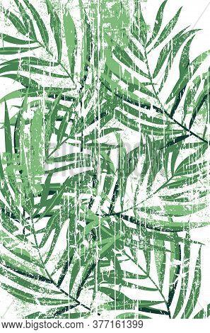 Tropical Fern Leaves Pattern In Grunge Design. Green Color