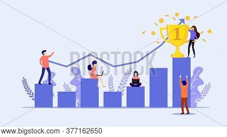 Successful Businessman Holds The Gold Trophy On Graph. On The Way To Success.positive Thinking And S