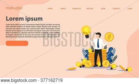 Businessman Standing At Golden Stacks Of Coins. Investing And Investing Money In Ideas. Looking For