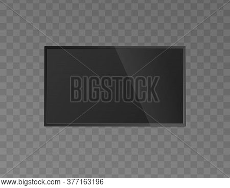 Front Of Blank Lcd Tv Monitor Or Screen, Realistic Vector Illustration Isolated.