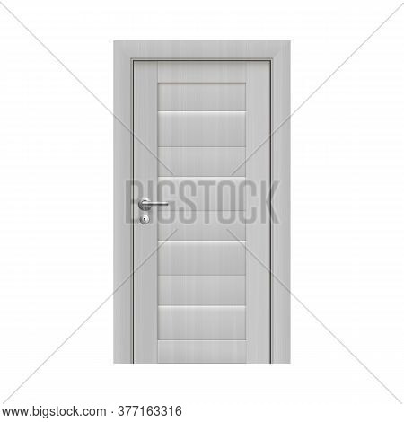 Mockup Of Doorway With White Wooden Door, Realistic Vector Illustration Isolated.