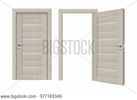 Set Templates Of Doorways With White Door Realistic Vector Illustration Isolated.