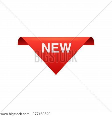 New - Red Top Banner Sign In Triangle Shape - Top Border Information Tag