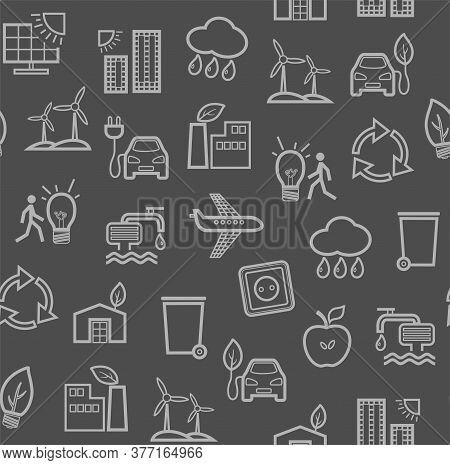 Eco-friendly Technology, Seamless Pattern, Dark Gray, Contour Drawing, Color, Vector. Clean Energy,