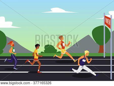 Sprint Or Run Marathon Sport Competition Background, Flat Vector Illustration.
