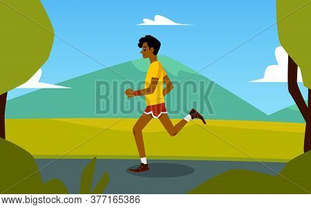 Cartoon Sprinter Running In Summer Nature With Mountain Hill Landscape