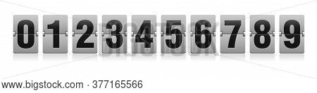 Flip Countdown Clock - Vector Digits - Counter Timer. Time Remaining Count Down Scoreboard In Flip B