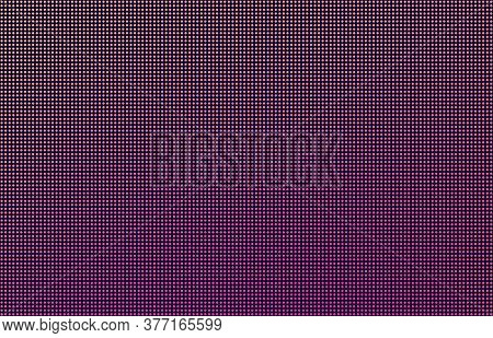 Led Screen Gradient Background, Pink And Orange Monitor Dots. Close-up Of The Macrotexture Of The Di